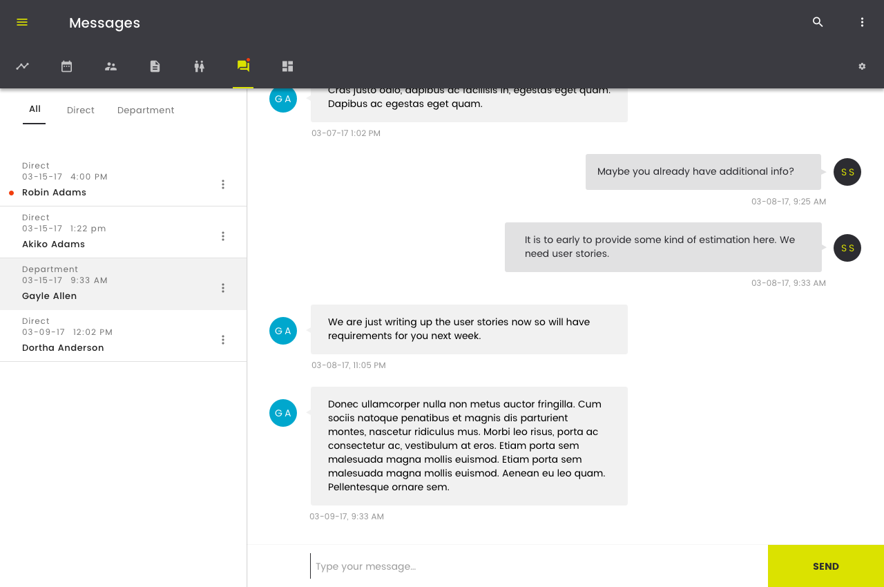 Advisor view of Messages